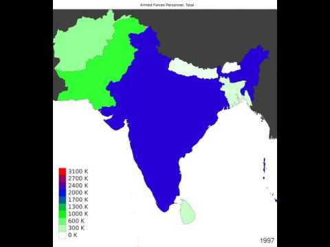 South Asia - Armed Forces Personnel, Total - Time Lapse