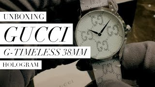 Gucci G-Timeless 38mm Hologram UNBOXING: Design, Movement, Feel