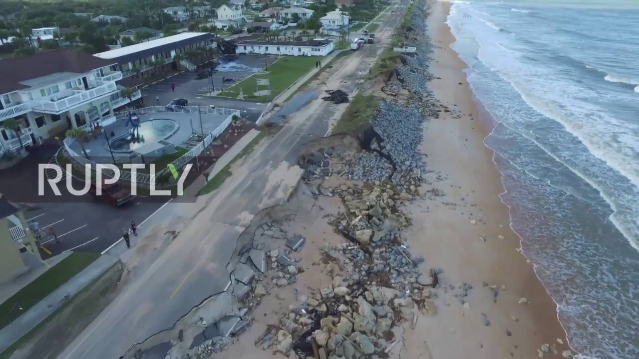 Usa Drone Footage Captures Destruction Of Flagler Beach After Hurricane Matthew You