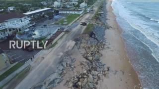 USA: Drone footage captures destruction of Flagler Beach after Hurricane Matthew
