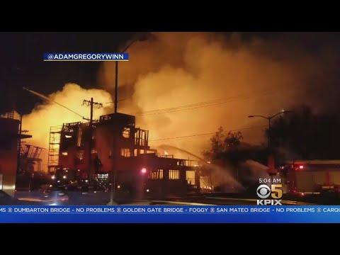 OAKLAND FIRE UPDATE:  Suspicious 5-alarm fire erupts at Oakland apartment complex construction site