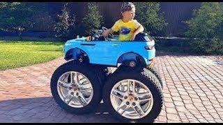 Senya and his Huge Wheels in a small car