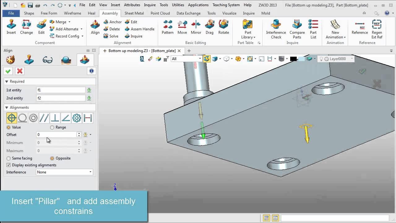 ZW3D Bottom Up Assembly Modeling - YouTube