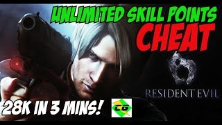 Resident Evil 6 -  Money Cheat/Glitch UNLIMITED SKILL POINTS CHEAT! ( 28K IN 3 MINUTES! )