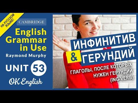 Unit 53. Инфинитив и герундий: Глаголы, после которых нужен герундий (ing-verb)