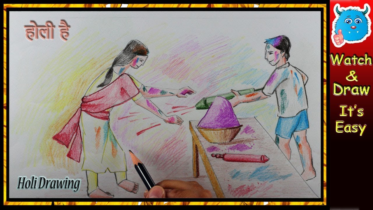 How to draw happy holi scene for kids easy step by step