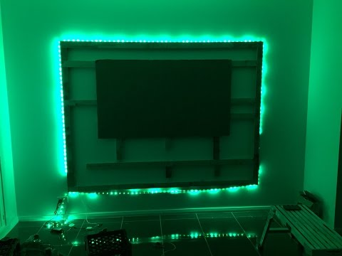 "DIY Floating Wall & Unit with LED Lighting for 70"" TV (Media Room)"