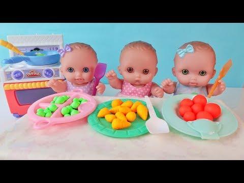 Видео: Куклы Пупсики Кушают Разноцветное Play-Doh Сюрпризы Фиксики МашаМедведь Игрушки Зырики ТВ Мультик