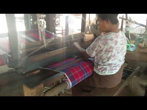 Weaving clothing in Myanmar