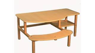 Wild Zoo Furniture Childs Wooden Computer Desk For 1 To 2 Kids, Ages 2 To 5, Maple/tan