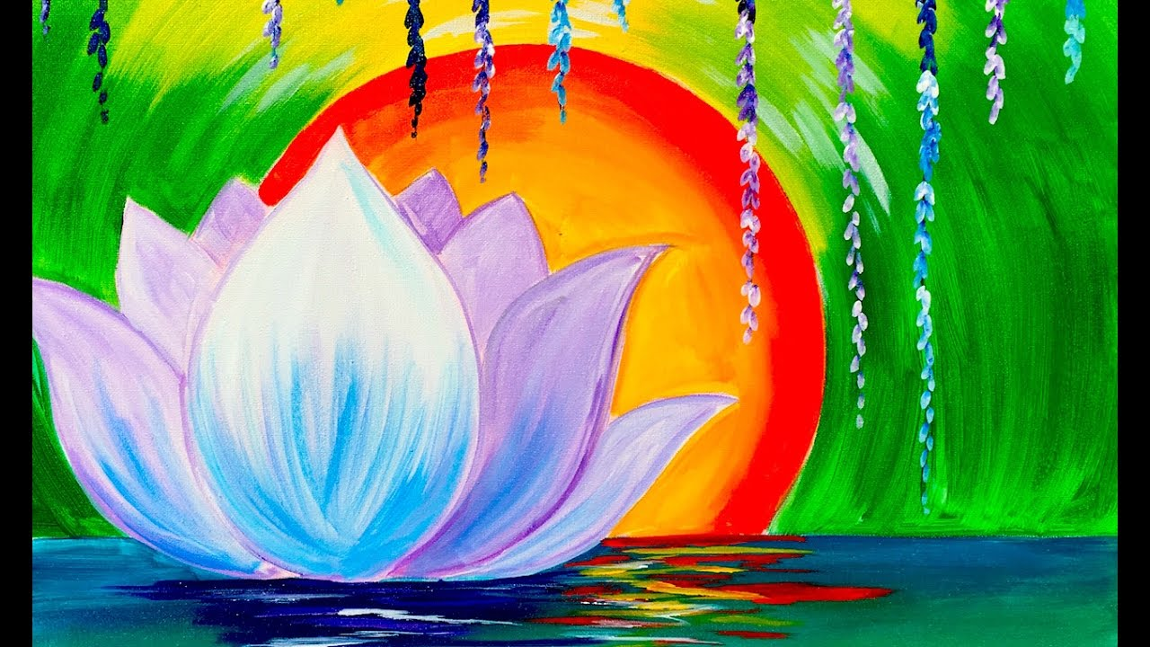 Zen Lotus Flower Step By Step For Beginners Acrylic Tutorial Youtube