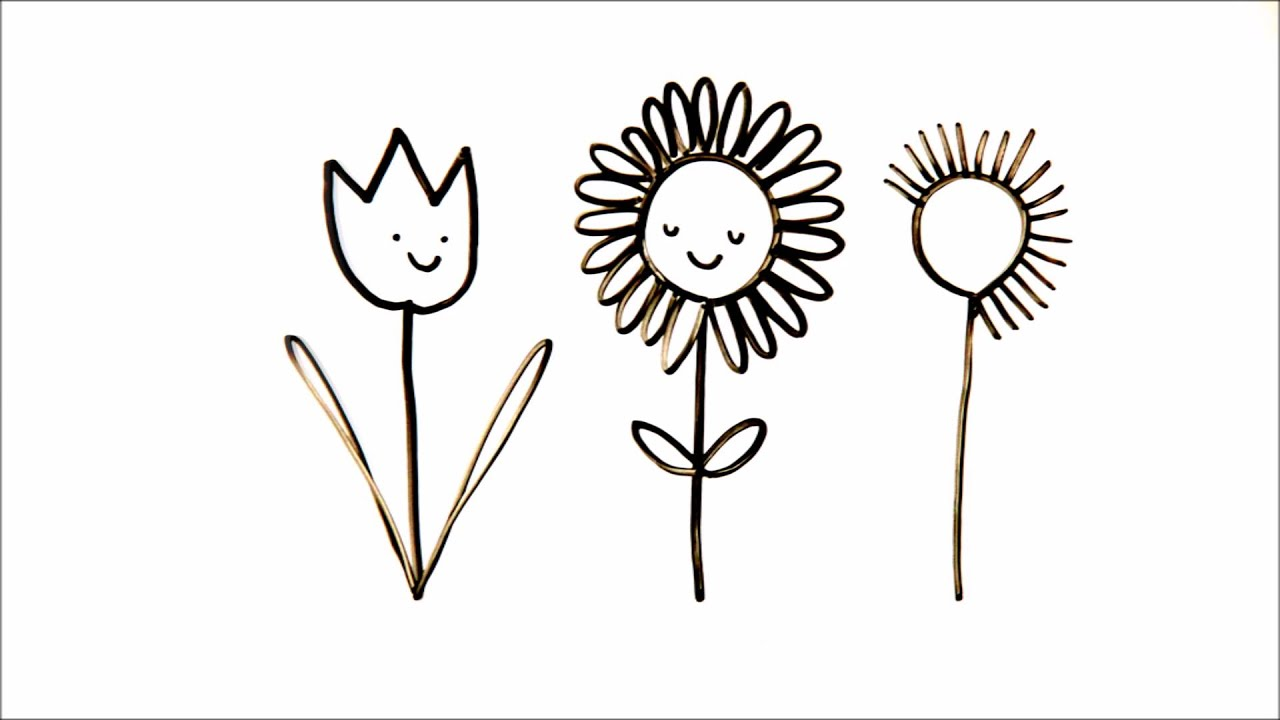 How to Draw Happy Flowers | Cute Doodles with Lady Lucas