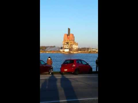 Implosion of the DTE Energy Plant in Marysville MI