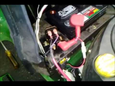 how to test replace a solenoid on a la125 john deere mower youtube rh youtube com Tractor Starter Solenoid Wiring Diagram John Deere Wiring Harness Diagram