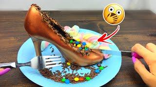 زينت الكعب بحلويات واكلته 👠😱؟! اكلات غريبه !