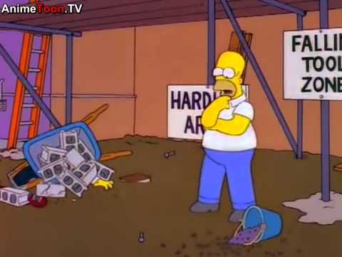 The Simpsons-Homer tries to injure himself