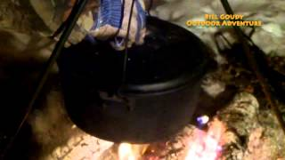 Campfire Cooking  -  Cajun Boil  & Busch Beer Bread - Cast Iron Kettle