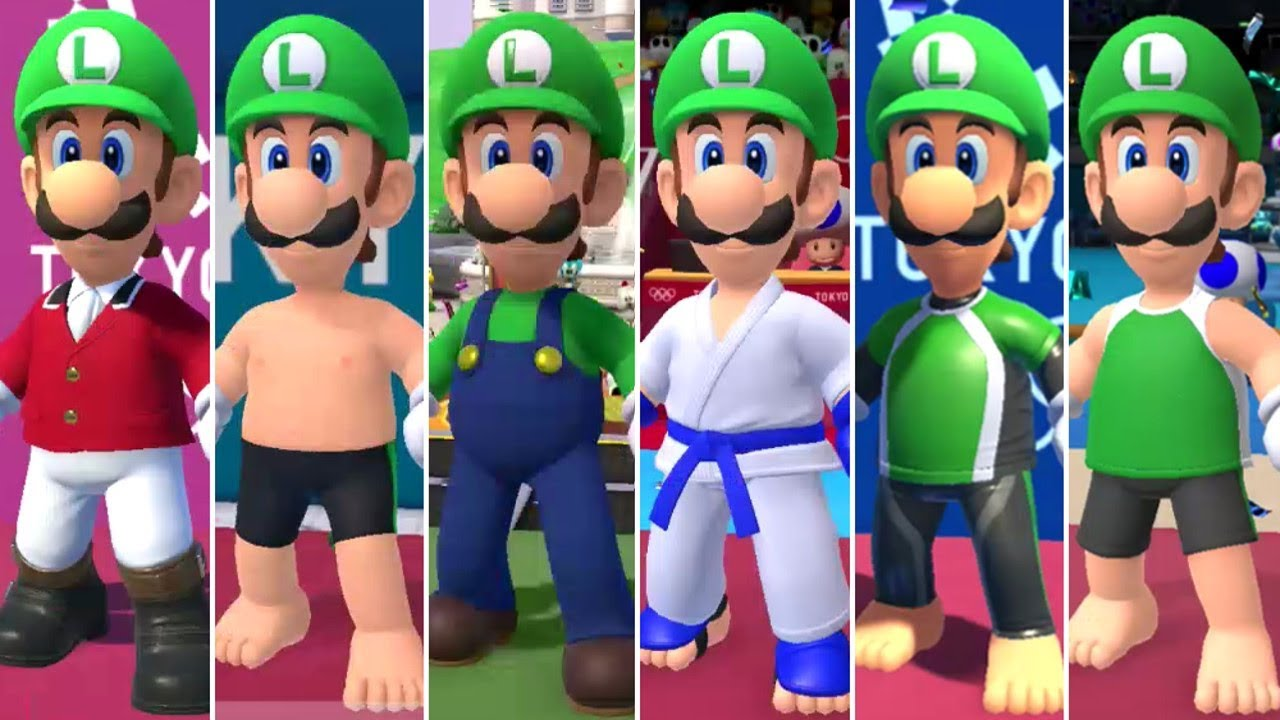 [VIDEO] - Mario & Sonic at the Olympic Games Tokyo 2020 - All Luigi Outfits 7