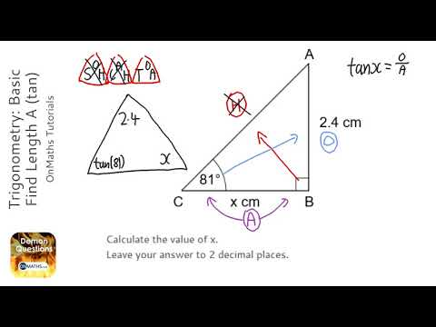 Trigonometry: Basic Find Length B (tan) (Grade 5) - OnMaths GCSE