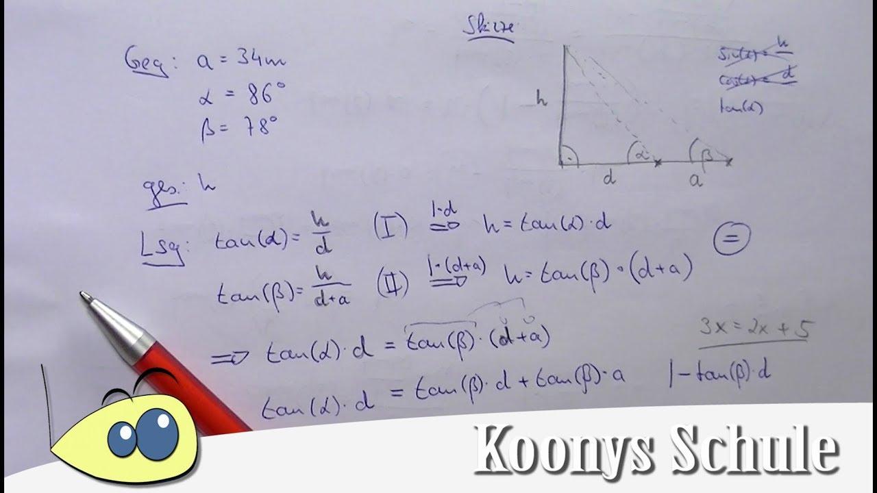 Höhe Fernsehturm mit 2 mal Tangens bestimmen, Trigonometrie - YouTube