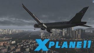 Boeing 777 - Insane approach to Kai Tak during STORM! [X-Plane 11]