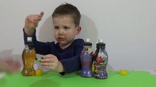 Тачки Дисней Напиток с сюрпризом открываем игрушки Cars Disney Drink with surprise toys open(Макс откроет бутылочку сюрприз Тачки Дисней на русском внутри с пластиковой капсулой и игрушками Unboxing..., 2015-02-14T16:03:35.000Z)