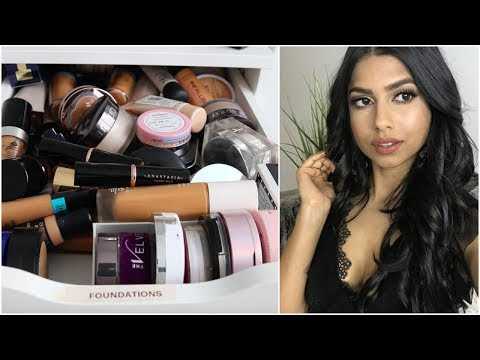 Foundations Declutter! | Try on of all my NC42 foundations