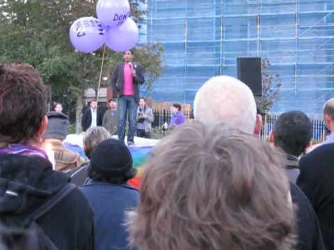 Vancouver Vigil for ending Homophobia - Jeremy Dias speaking