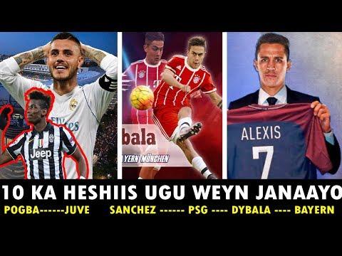 X X 10ka Heshiis Ee Ugu Weyn Ee Janaayo Dhacaya Sanchez➡️Paris Pogba➡️ Juve Icardi➡️ Real Madrid