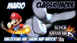 Unlocking Mr. Game and Watch! - Super Smash Bros. for 3DS! [Classic - Mario]