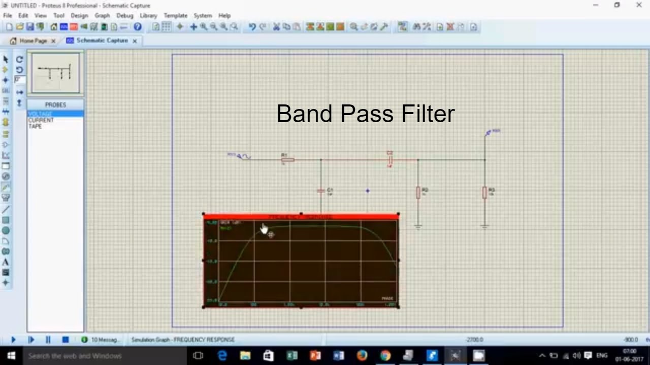 Band Pass Filter In Proteus Youtube