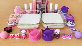 Pink vs Purple | Mixing Makeup Eyeshadow into Clear Slime | Special Series Satisfying Slime 43