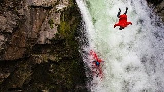 daredevil leaps off waterfall in death defying stunt
