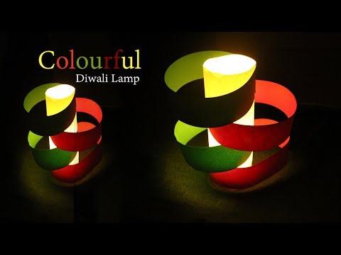 Easy Colourful Paper Diwali Lamp - how to make colored paper lamp lantern diwali light - Tuber Tip