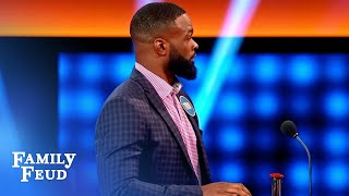 Watch how FAST Tyron Woodley is on the buzzer! | Celebrity Family Feud