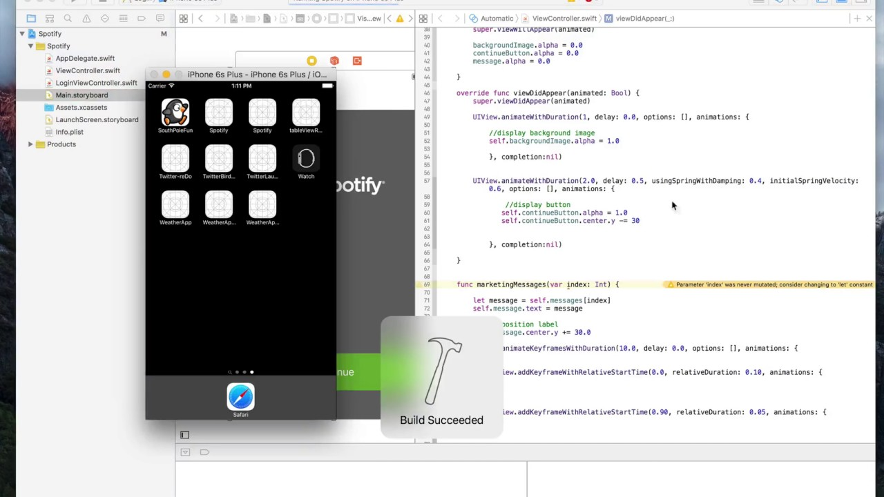iOS Animation with Swift Spring Animation class 16