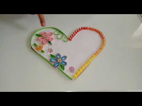 Heart shaped quilling greeting card and wall hanging