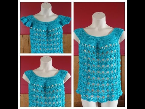 Learn How to Crochet Women's Summer Time Blues Top size L only with optional sleeves #TUTORIAL #230