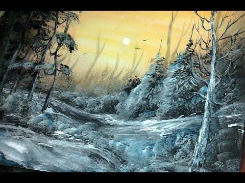 winter landscape spray paint art techniques youtube. Black Bedroom Furniture Sets. Home Design Ideas
