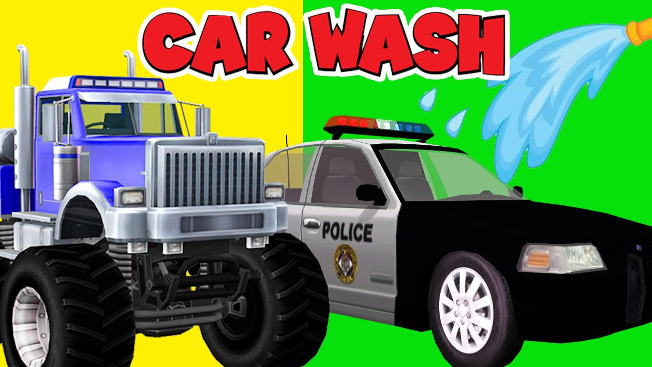 Police Car Wash Cartoons For Children Ambulance Fire Trucks Wash
