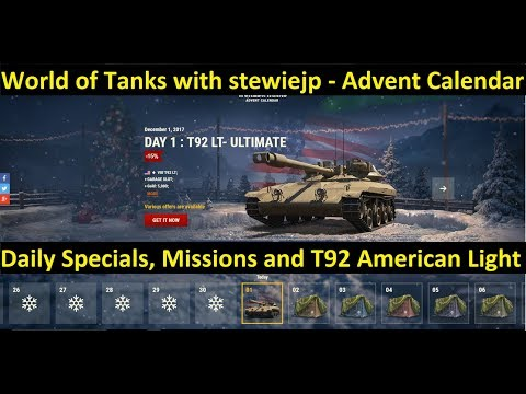 World of Tanks 2017 Advent Calendar + New Tier 8 American Premium Light Tank - T92