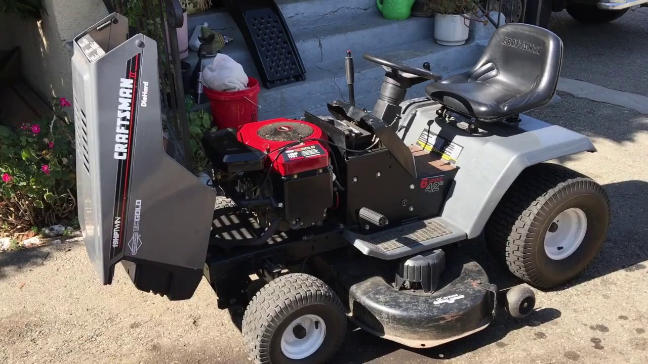Craftsman LT 4000 Briggs Opposed Twin 6 Speed Cold Start - YouTube