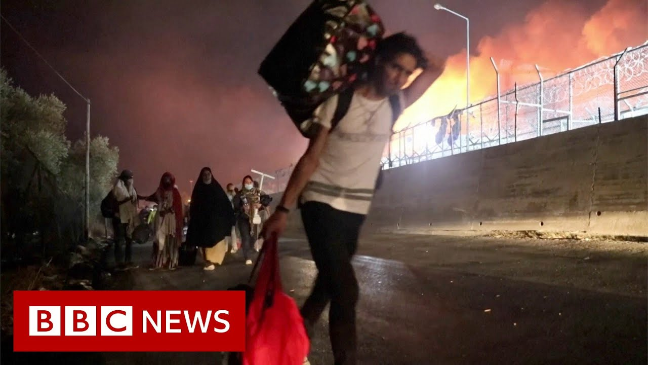 Fire destroys Greece's largest migrant camp - BBC News
