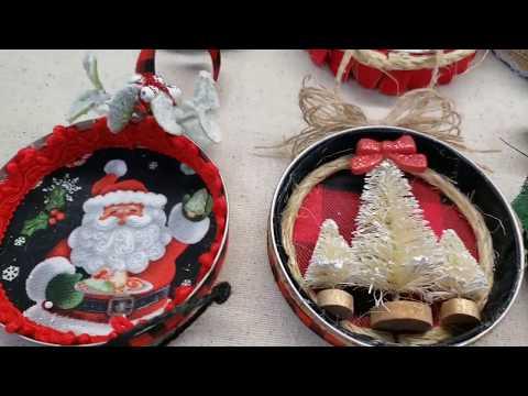 DIY Farmhouse Mason Jar Lid Christmas Ornaments
