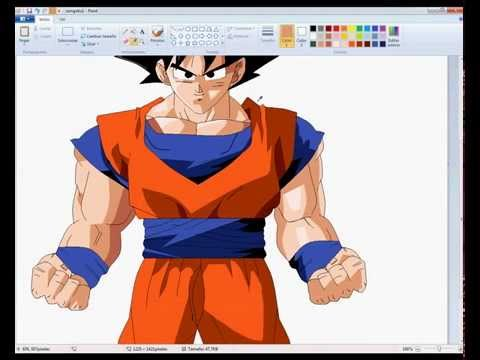 drawing normal goku with ms paint youtube