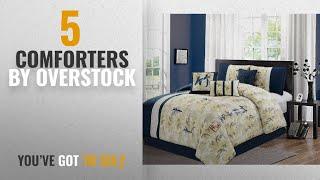 Top 10 Overstock Comforters [2018]: Elight Home Feng-shui embroidery 7 piece comforter set Queen