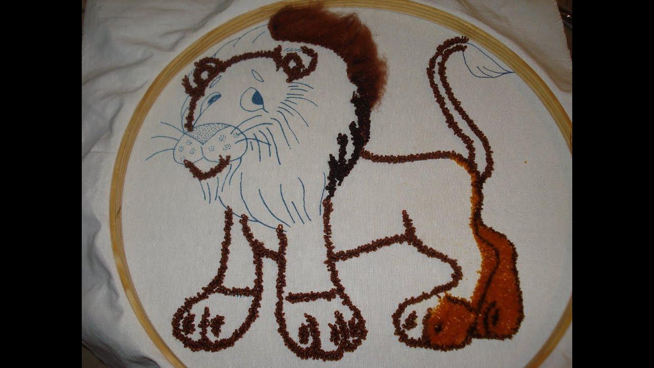 Recortado y cepillado con la aguja pica pica youtube for Como hacer alfombras en bordado chino
