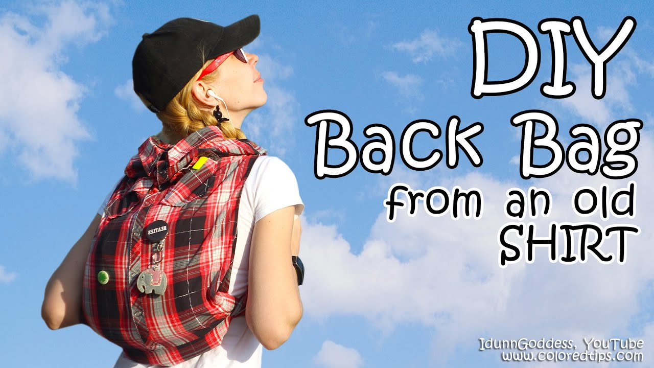 Diy backpack out of an old shirt without cutting back to diy backpack out of an old shirt without cutting back to school diy school bag youtube jeuxipadfo Image collections