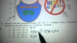 Akar-Akar Persamaan Kuadrat-Pembahasan Soal UN Matematika IPS 2014 No.13
