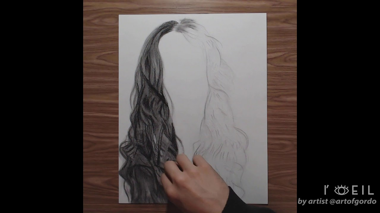 How to Draw Realistic Hair with Techniques for Beginners | Step by Step Timelapse Tutorial | L'oeil - YouTube